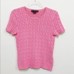 Ralph Lauren Pink Short Sleeve Cable Knit Sweater